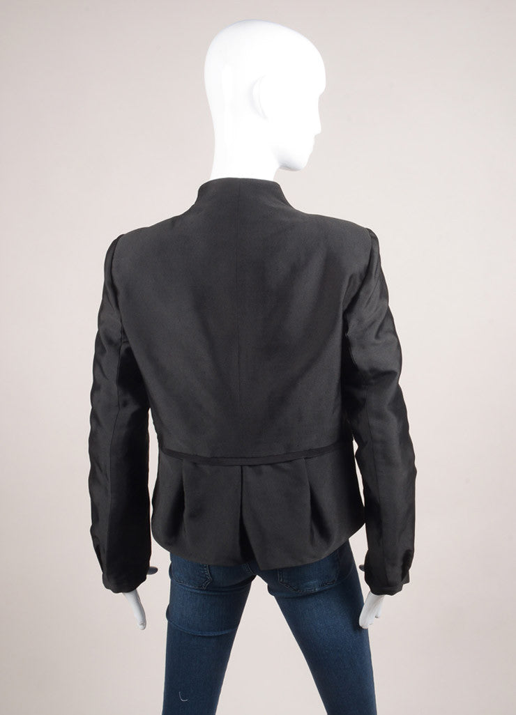 Valentino New With Tags Black Dot Stitch Wool and Silk Neck Tie Pleated Waist Long Sleeve Jacket Backview