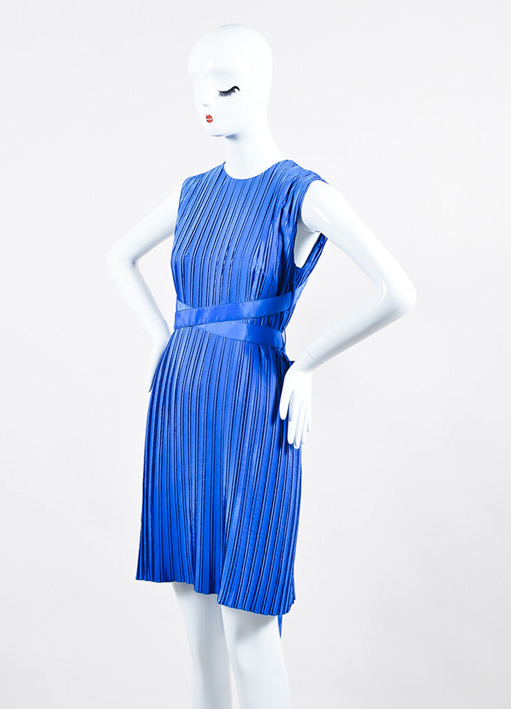 Cobalt Blue Victoria Victoria Beckham Taffeta Pleated Belted Dress Sideview