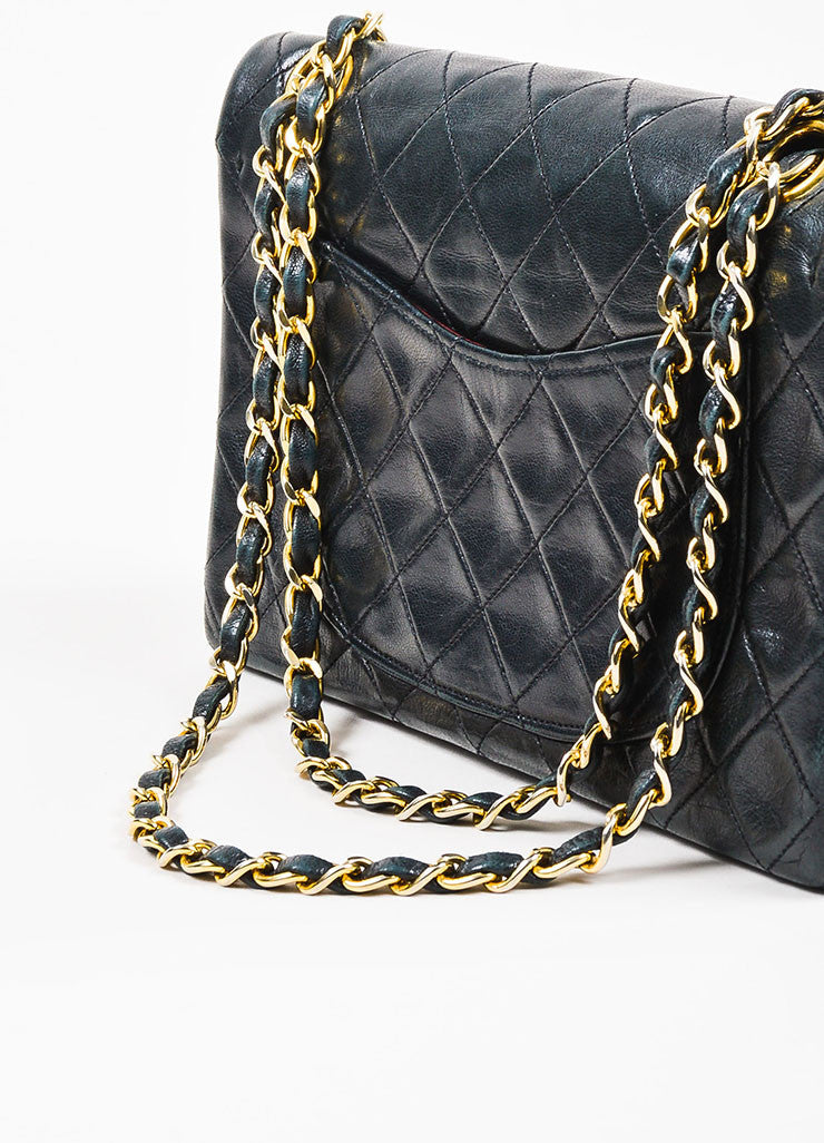 "Chanel Black Gold Toned Lambskin Leather Quilted ""Small Double Flap"" Bag Detail 2"