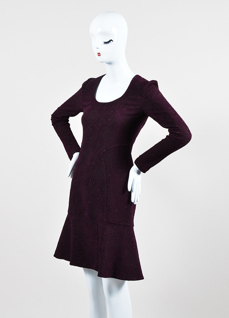 Yigal Azrouel Purple Jacquard Long Sleeve Flounce Dress Sideview