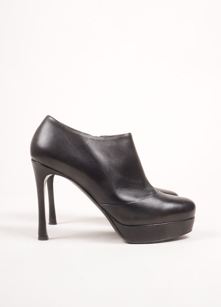 "Yves Saint Laurent Black Leather High Heel ""Gisele"" Ankle Booties Sideview"