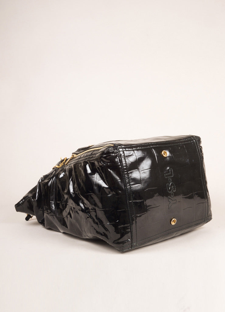 "Yves Saint Laurent Black Patent Leather Croc Print Medium ""Downtown"" Bag Bottom View"