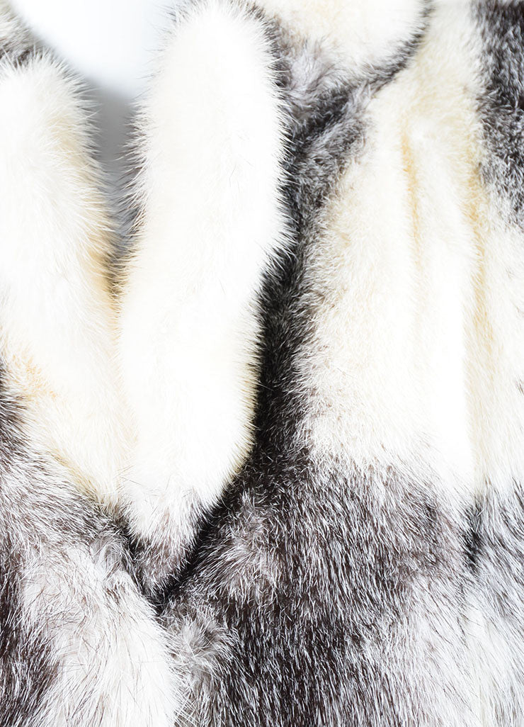 Black and White Yves Saint Laurent Fourrures Striped Fur Chubby Coat Detail