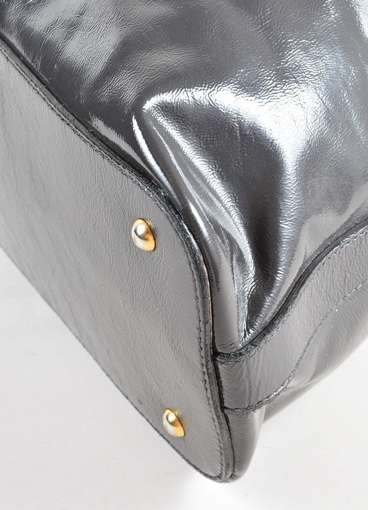 "Yves Saint Laurent Grey and Gold Toned Patent Leather ""Muse"" Tote Bag Detail"