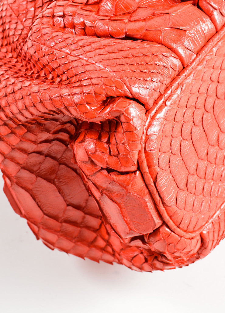 Zagliani Red Python Snakeskin Trim Chain Slouchy Shoulder Bag Detail