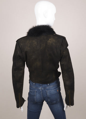 Ralph Lauren Purple Label Black and Gold Print Shearling Leather Crop Jacket Backview