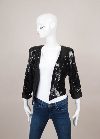 Black Long Sleeve Cropped Sequin Jacket