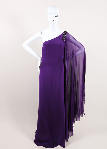 Marchesa Notte Purple Silk Beaded One Shoulder Draped Sleeve Gown Frontview