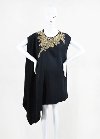3.1 Phillip Lim Black Gold Beaded One Shoulder Drape Sleeveless Tunic Frontview