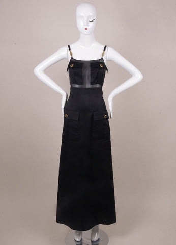 Black Silk Pocket Dress With Sheer Panels