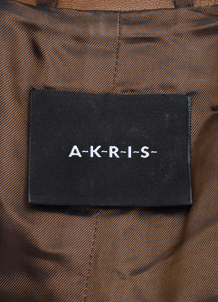 Akris Brown Leather Zip Jacket Brand