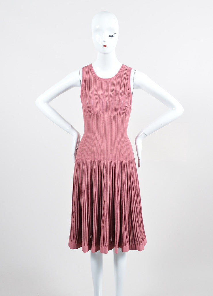 Dusty Pink Alaia Stretch Texture Knit Sleeveless Trumpet Flared Dress Frontview