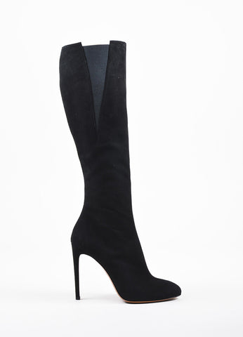 Alaia Black Suede Elastic Round Toe Knee High Heeled Boots Sideview