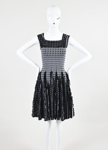 Black and White Alaia Circle Knit 3D Ruffle Sleeveless Flared Dress Frontview