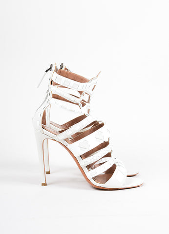 Alaia White Patent Leather Woven Cage Sandal Heels Sideview