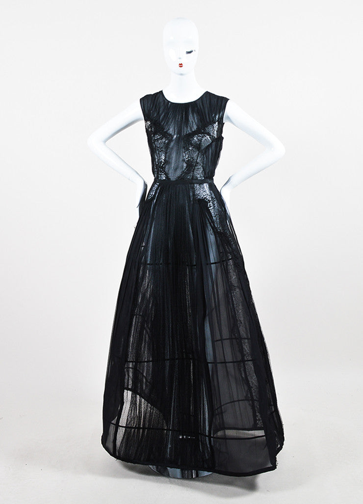 Alberta Ferretti Black Sheer Silk Lace Pleated Structured Sleeveless Gown Frontview