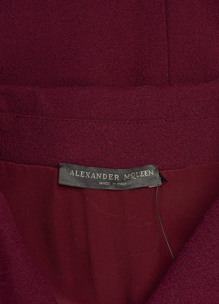 Alexander McQueen Maroon Wool Zip Up Short Sleeve Sheath Dress Brand