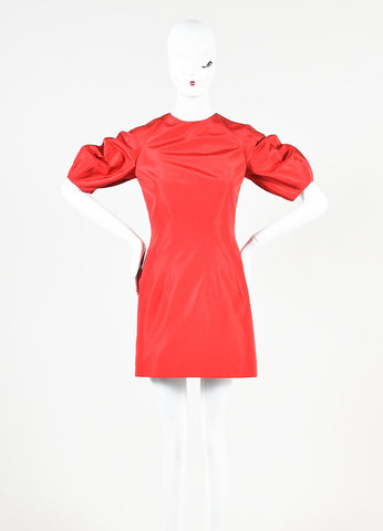 Alexander McQueen Red Silk Taffeta Puff Sleeve Fit and Flare Mini Dress Frontview