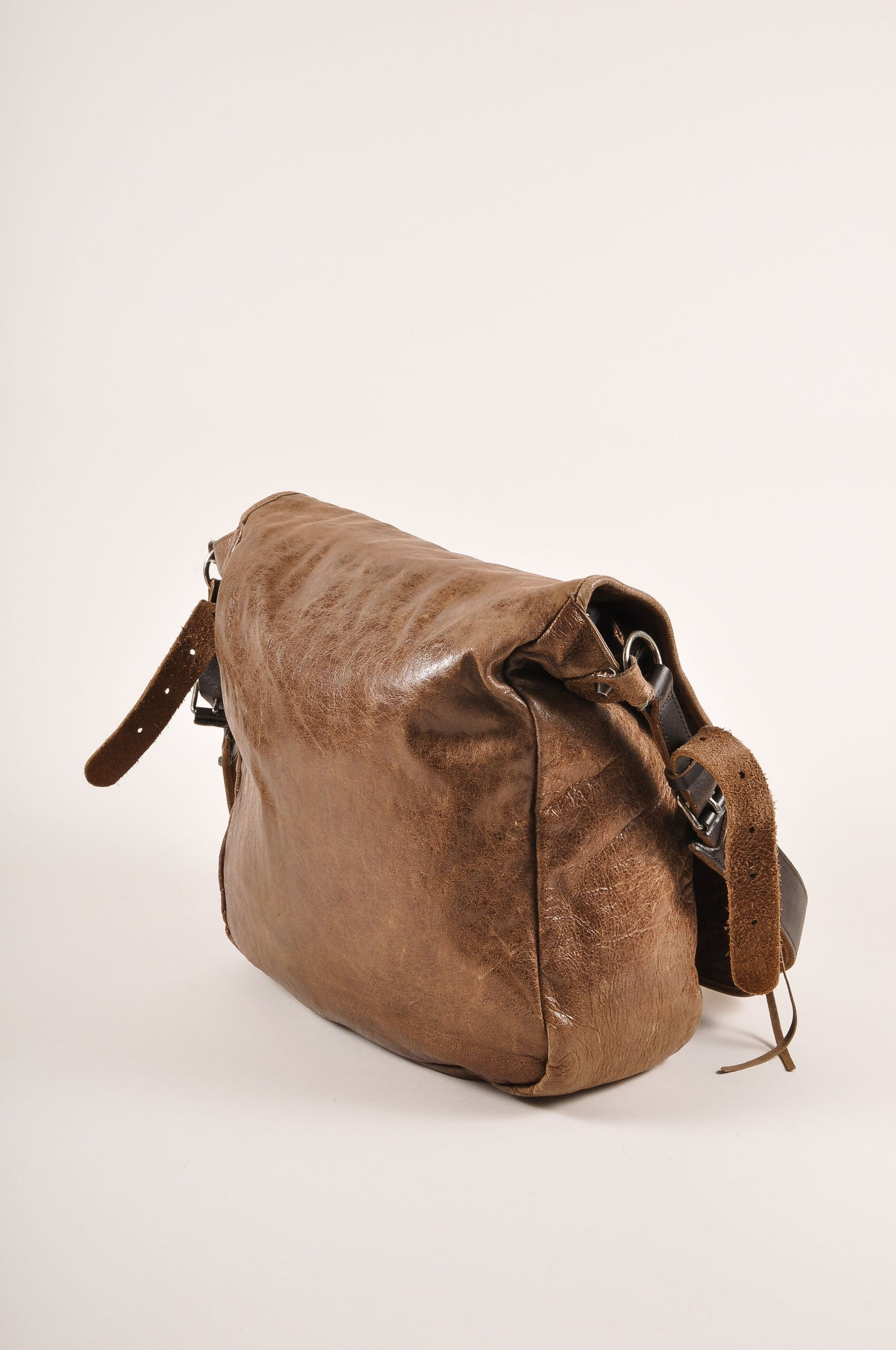 Balenciaga Brown Distressed Leather Messenger Bag Sideview