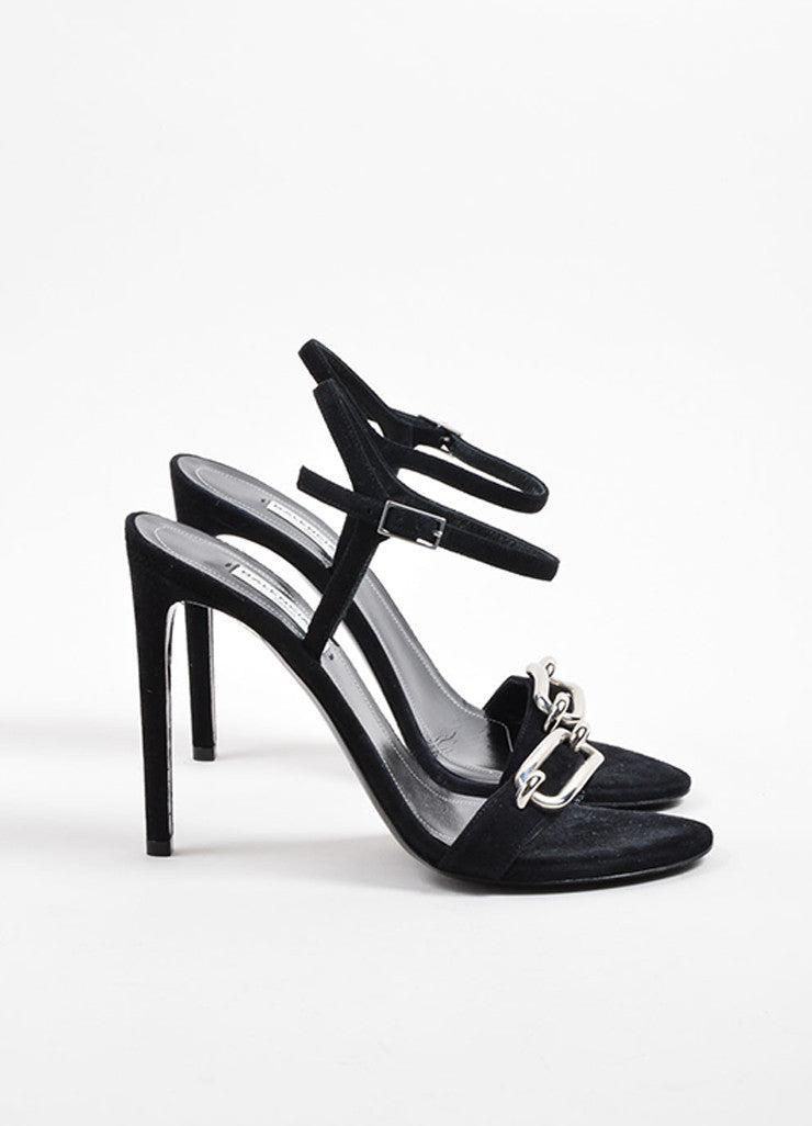 Balenciaga Black Suede Leather Buckle Ankle Strap Sandals Sideview