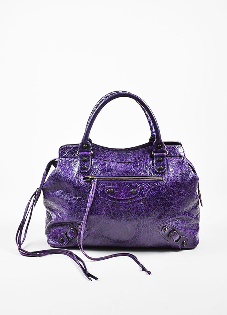 "Balenciaga Purple Wrinkled Leather Brass Stud Fringe ""Classic Step"" Shoulder Bag Frontview"