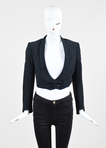 Black Balmain Cotton Blend Metallic Pinstripe Double Breasted Crop Jacket Frontview 2