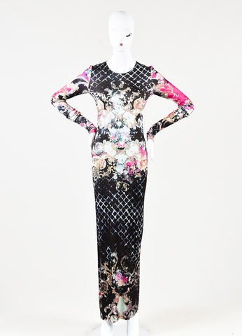 Balmain Multicolor Floral Print Long Sleeve Jersey Maxi Dress Front 2