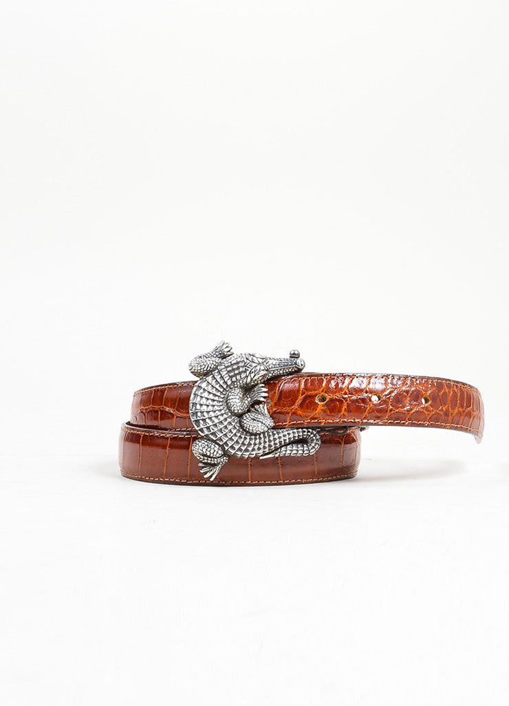Barry Kieselstein-Cord Brown and Black Interchangeable Strap Alligator Buckle Belt Frontview 2