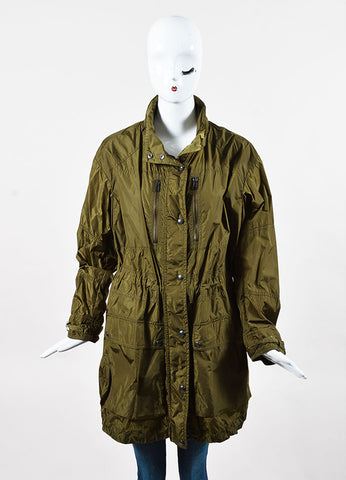 Belstaff Olive Green Drawstring Long Sleeve Hooded Windbreaker Jacket Front