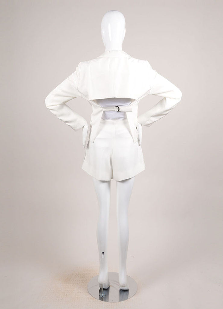 Bottega Veneta New With Tags Cream Open Back Blazer and Pleated Shorts Suit Backview