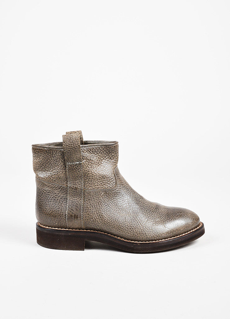 Brunello Cucinelli Gray & Brown Grained Leather Platform Moto Ankle Boots  side