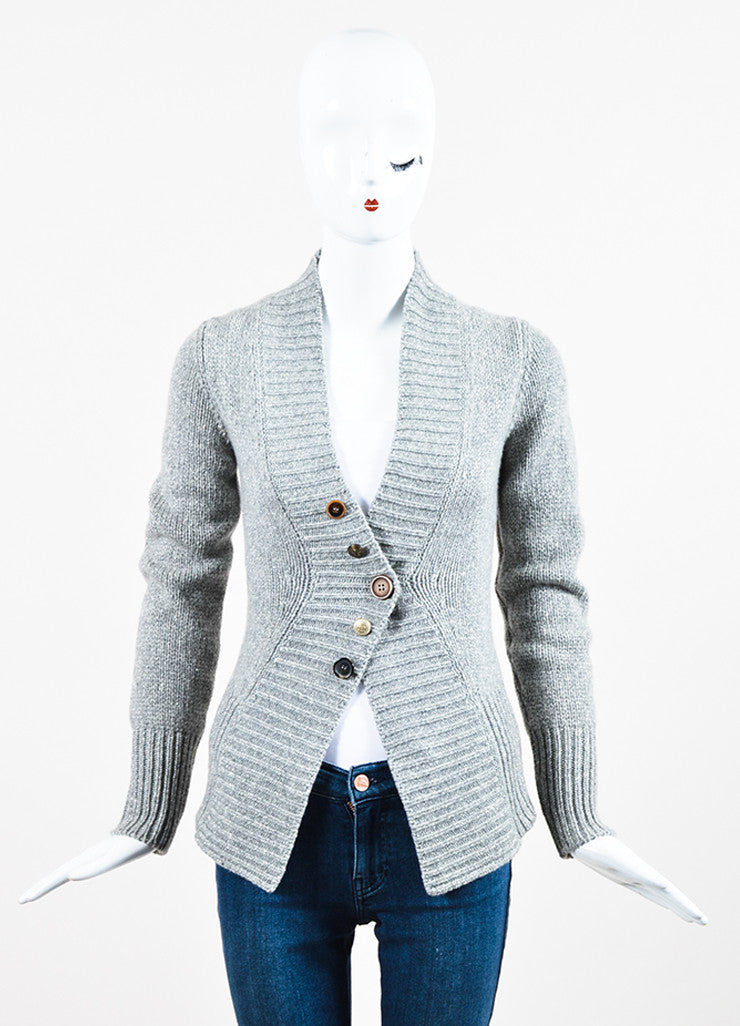 Grey Brunello Cucinelli Cashmere Rib Knit Fitted Button Cardigan Frontview 2