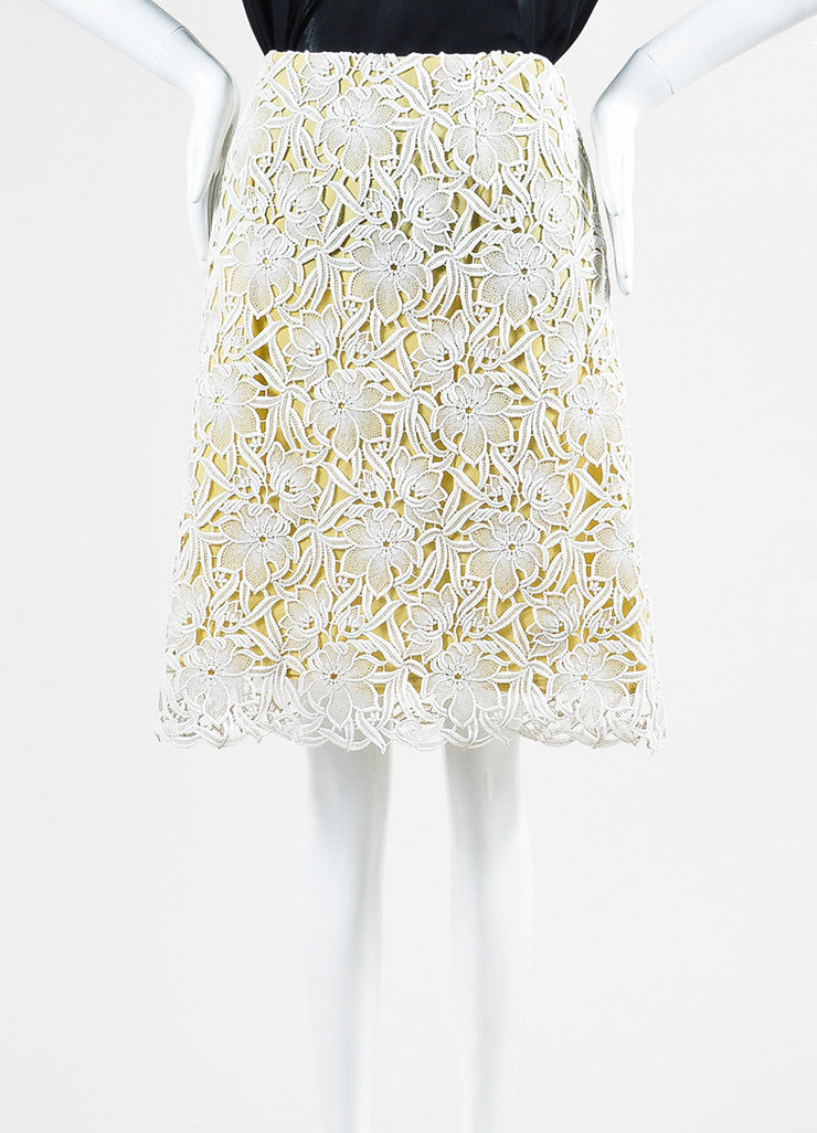 White Beige Burberry Prorsum Lace Overlay A-Line Skirt Front