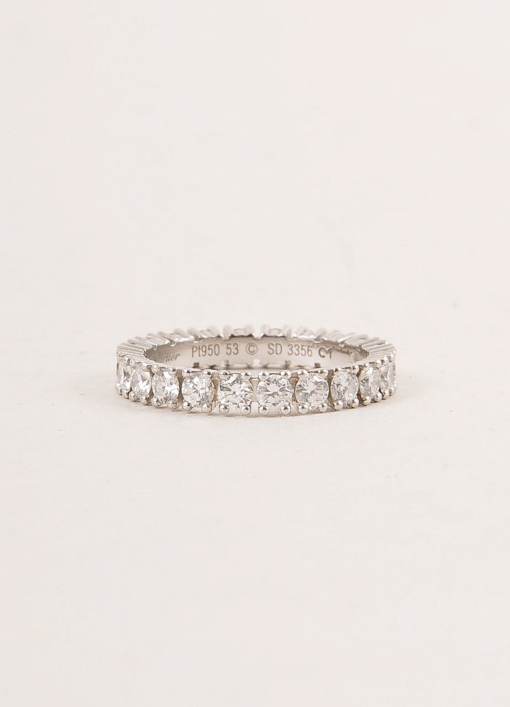 "Cartier 1.5 Carat Diamond and Platinum ""Eternity"" Band Ring Sideview"