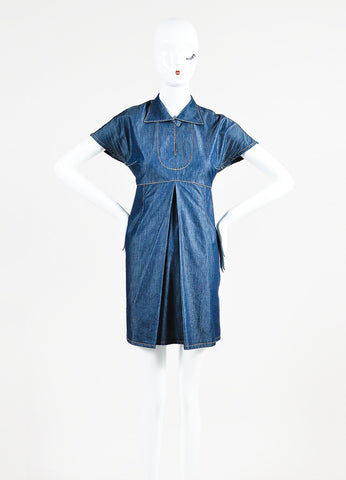 Carven Blue Denim Keyhole Pleated Fit and Flare Short Sleeve Dress Frontview