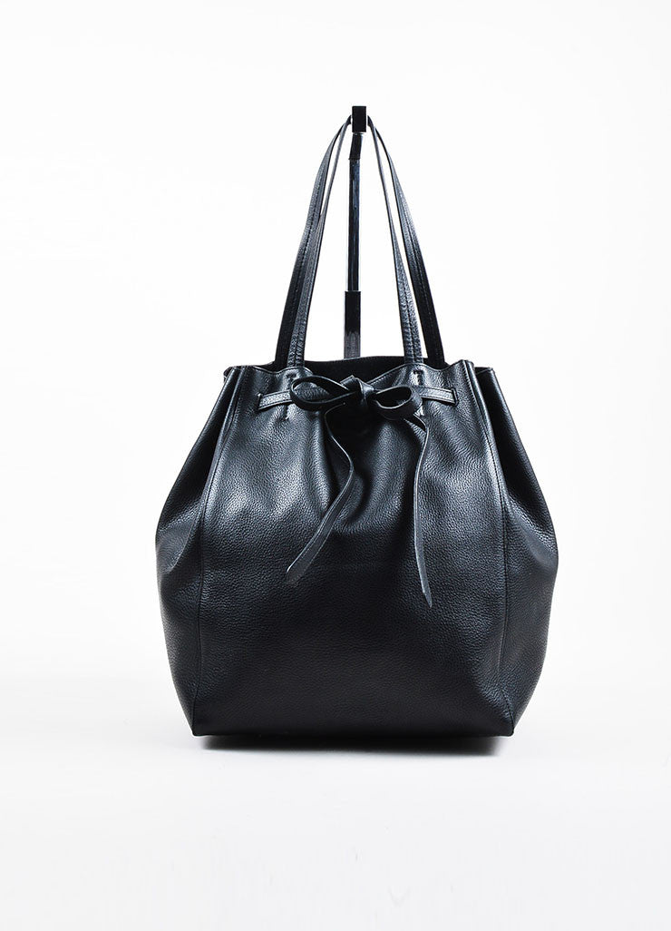 "Celine Black Pebbled Leather Tied ""Medium Cabas Phantom"" Tote Bag Frontview"