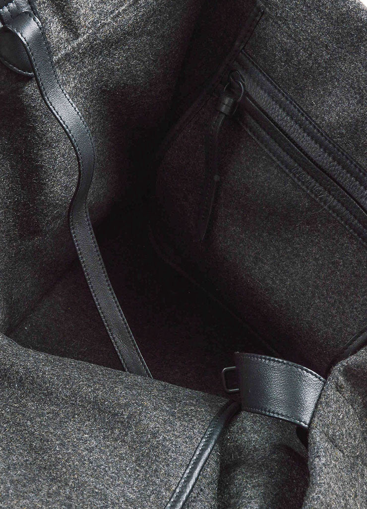 "Celine Grey and Black Felt and Leather Winged ""Medium Phantom Luggage"" Tote Bag Interior"