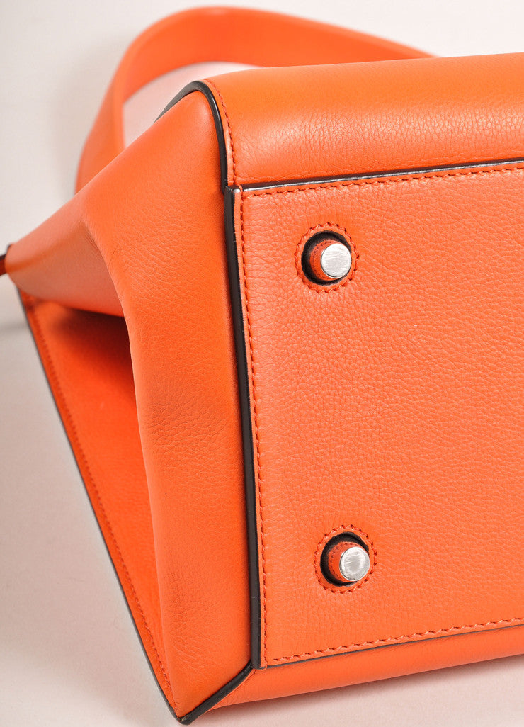 "Celine Orange ""Vermillion"" Leather Structured Large ""Edge"" Tote Bag Detail"