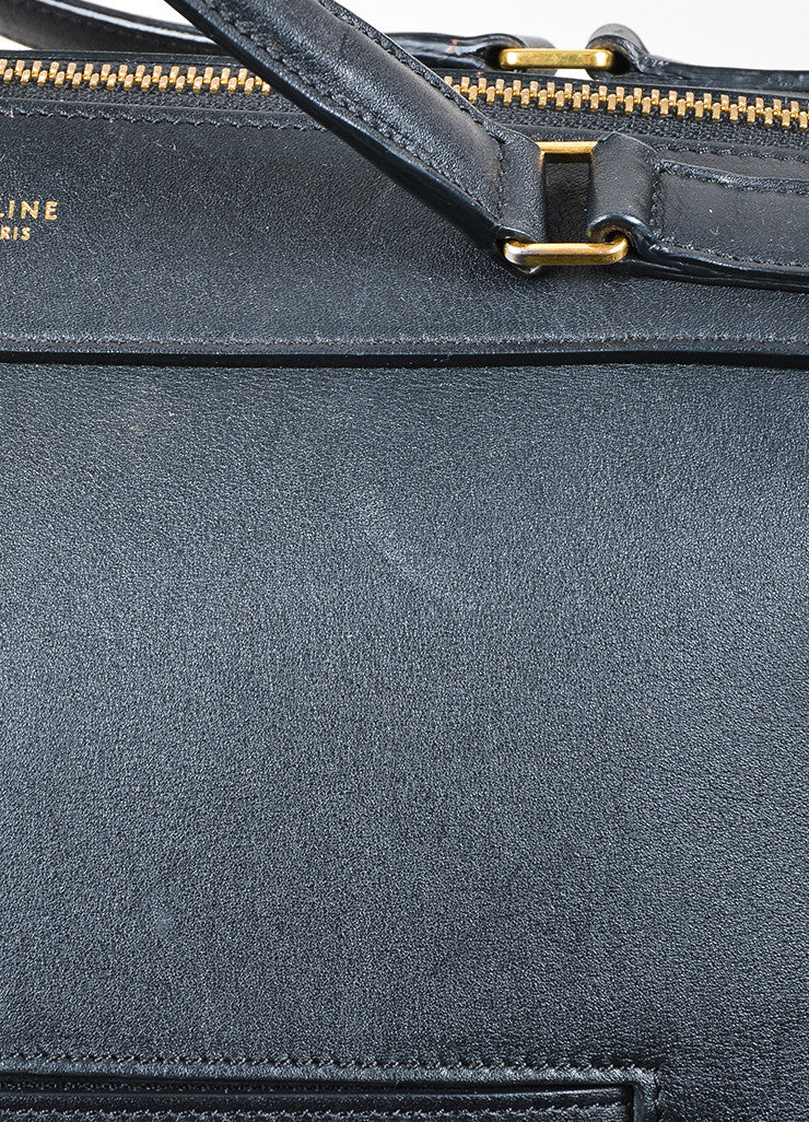 "Black Leather Celine ""Small Ring"" Zip Winged Satchel Bag Detail 3"
