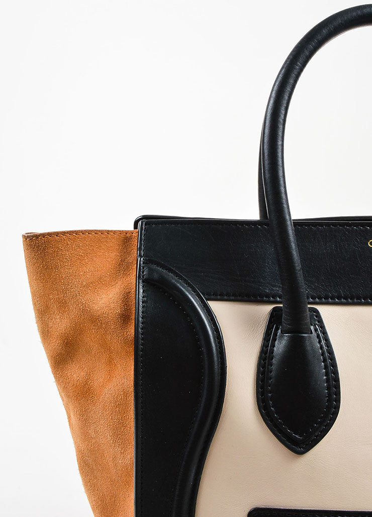 "Celine Black, Tan, and Beige Leather and Suede Winged ""Mini Luggage Tote"" Handbag Detail 3"