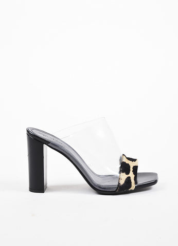 Celine Clear, Black, and Beige Pony Hair, Leather, and PVC High Heel Mule Sandals Sideview