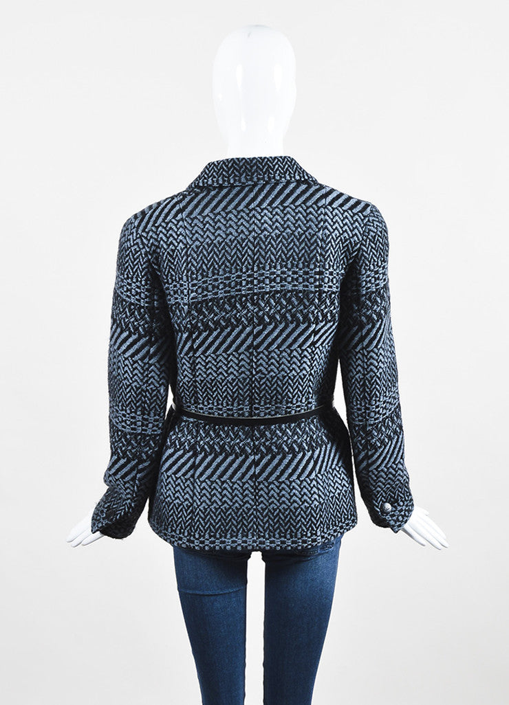 Chanel Fall 2000 Black Gray Wool Tweed Patterned Belted LS Sweater Jacket: back view
