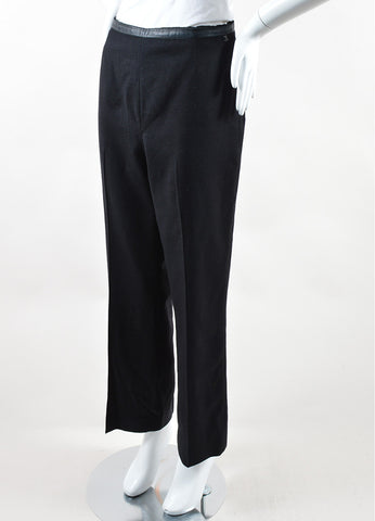 Chanel Black Wool and Cashmere Straight Leg Single Pleat Trousers Sideview