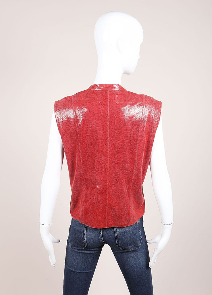 Chanel Red Leather Embossed Zip Front Vest Backview