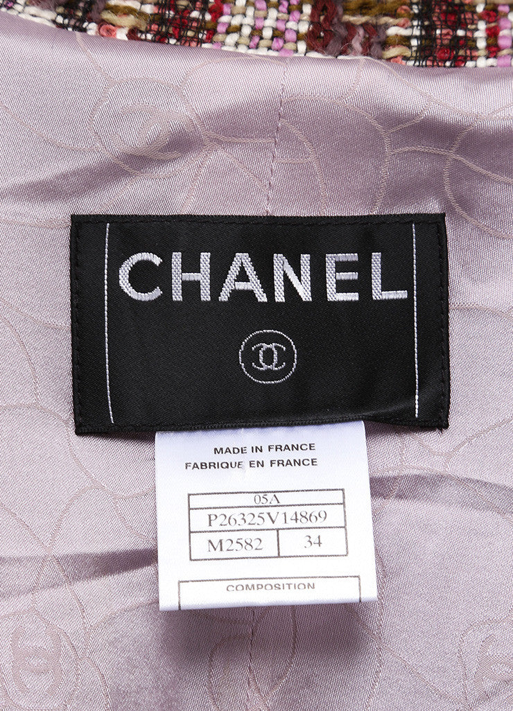 Chanel Multicolor Checkered Wool Blend Tweed Long Sleeve Buttoned Jacket Brand