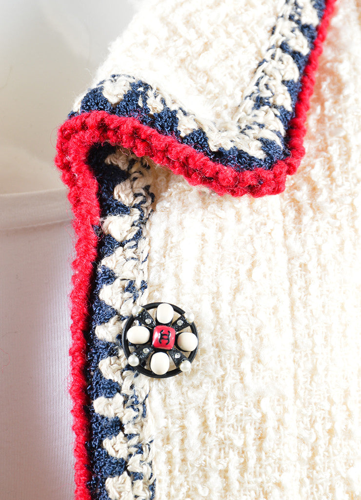 Chanel Cream, Red, and Navy Tweed Embellished Button Jacket Detail