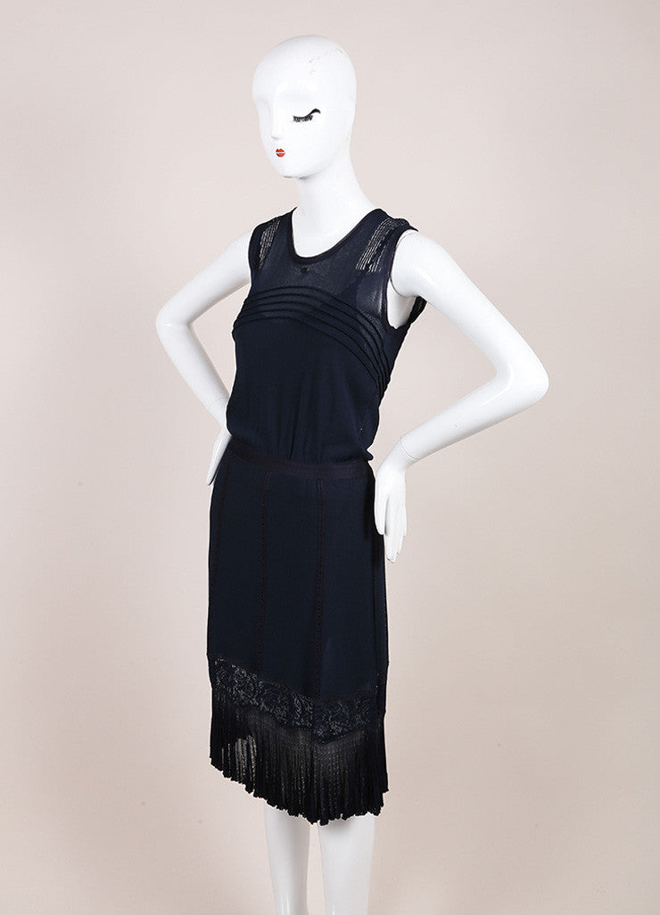 Chanel Navy Slinky Knit Jersey Lace Trim and Pleated Sleeveless Dress Sideview