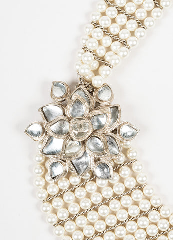Chanel Gold Toned Faux Pearl Glass Stone 'CC' Flower Pedant Bib Necklace Detail