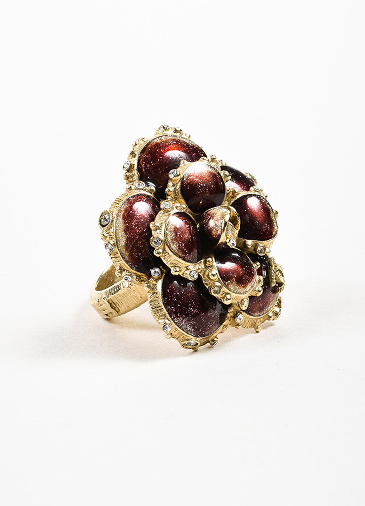Chanel Gold Toned and Burgundy Enamel Crystal 'CC' Camellia Flower Ring Sideview