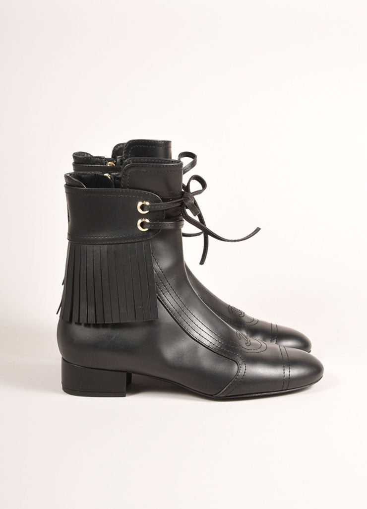 "Chanel Black Fringe Trim Laced Ankle Leather ""CC"" Logo Short Boots Sideview"